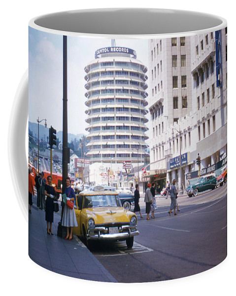 Hollywood Coffee Mug featuring the photograph Hollywood And Vine California 1956 by Hollywood Prints