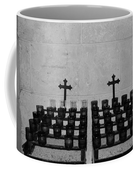 Black And White Coffee Mug featuring the photograph Holy Candles.... by Rob Hans
