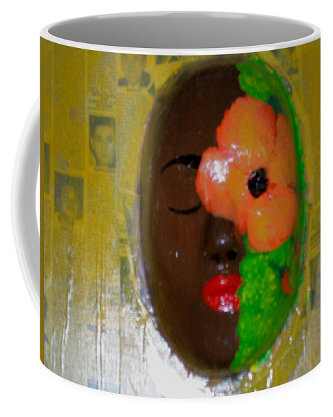 Mask Coffee Mug featuring the painting Homage Three by Laurette Escobar