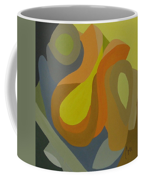 Abstract Coffee Mug featuring the painting Homage To The 70's by Cori Solomon