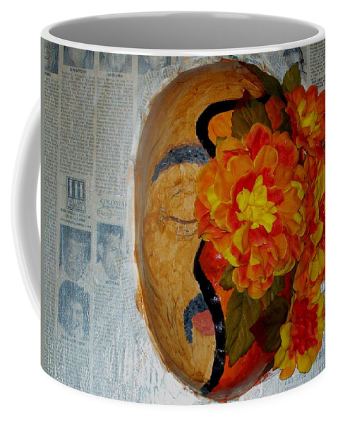 Mask Coffee Mug featuring the painting Homage Two by Laurette Escobar