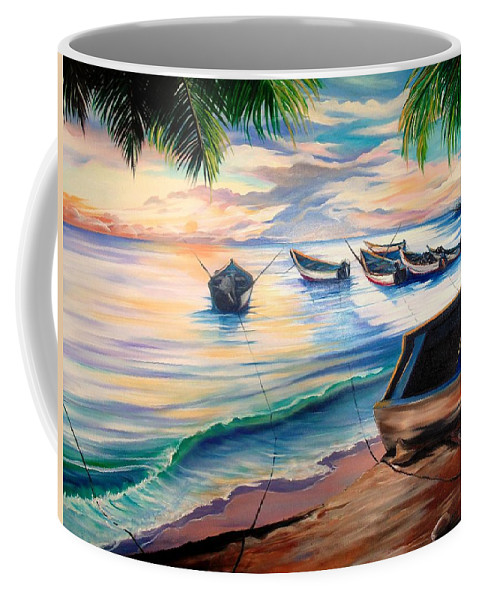 Ocean Painting Caribbean Painting Seascape Painting Beach Painting Fishing Boats Painting Sunset Painting Blue Palm Trees Fisherman Trinidad And Tobago Painting Tropical Painting Coffee Mug featuring the painting Home From The Sea by Karin Dawn Kelshall- Best