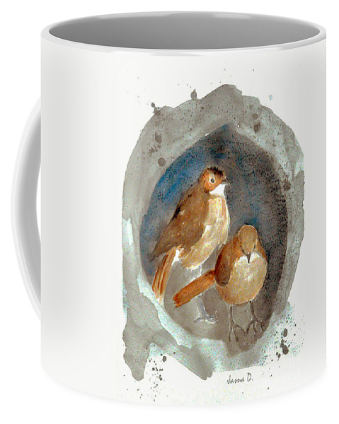 Sparrow Coffee Mug featuring the painting Home by Jasna Dragun