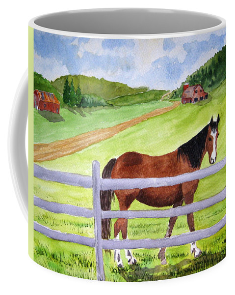 Horse Coffee Mug featuring the painting Home On The Farm by Julia Rietz
