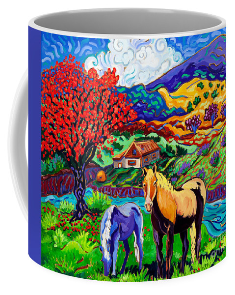 Horses Coffee Mug featuring the painting Home On The Range by Cathy Carey