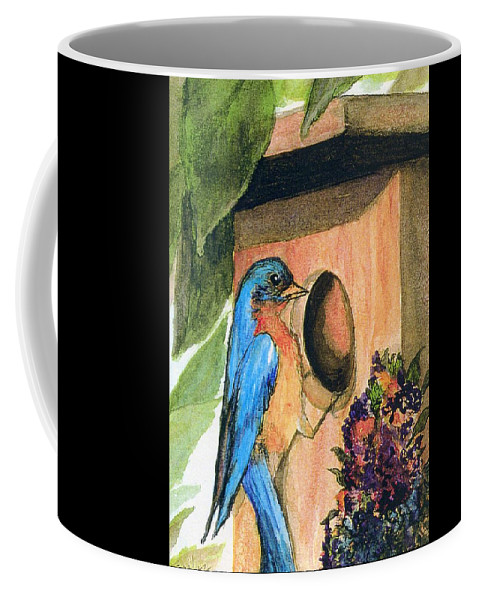 Bluebirds Coffee Mug featuring the painting Home Sweet Home by Gail Kirtz