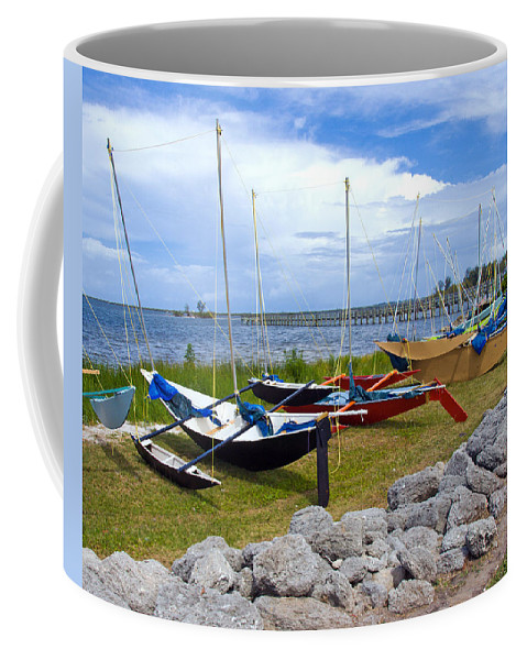 Sail; Sailing; Boat; Sailboat; Mast; Plywood; Homemade; Boy; Scouts; Fleet; Class; Dragon; Tiller; F Coffee Mug featuring the photograph Homemade Outriggers Canoes On The Indian River Lagoon In Florida by Allan Hughes