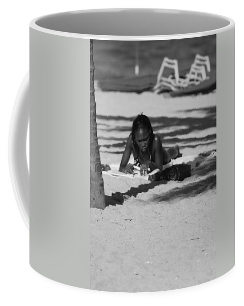 Black And White Coffee Mug featuring the photograph Homework At The Hollywood Beach by Rob Hans