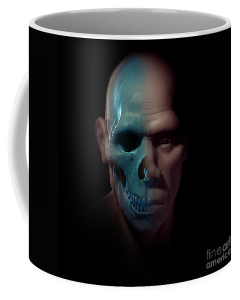 Digitally Generated Image Coffee Mug featuring the photograph Homo Sapiens With Skull by Science Picture Co