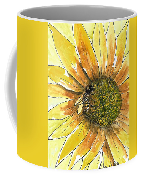 Sunflower Coffee Mug featuring the painting Honey Bee by Diane Palmer