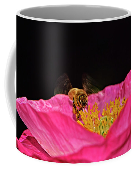 Insect Coffee Mug featuring the photograph Honeybee In Flight 010 by George Bostian