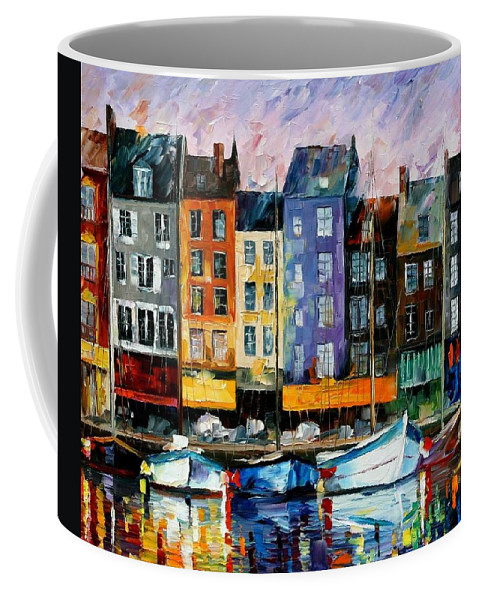 Afremov Coffee Mug featuring the painting Honfleur - Normandie by Leonid Afremov