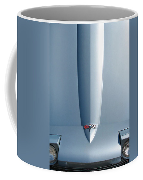 Corvette Coffee Mug featuring the photograph Hood Up With Lights by Kelly Mezzapelle