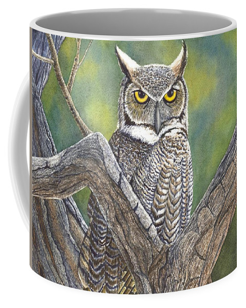 Owl Coffee Mug featuring the painting Hooter by Catherine G McElroy