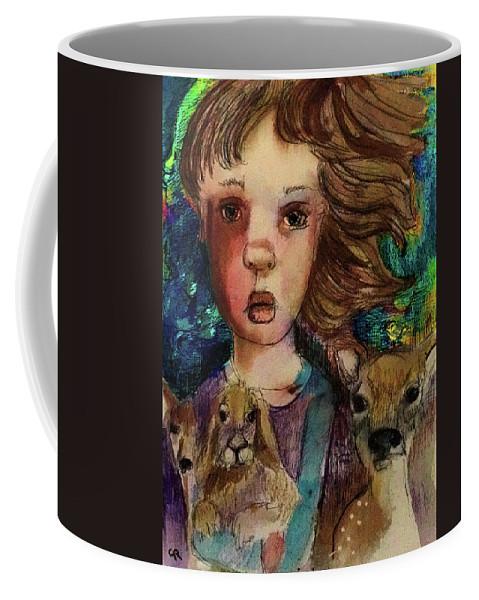 Deer Coffee Mug featuring the mixed media Hope Waned by Cynthia Richards