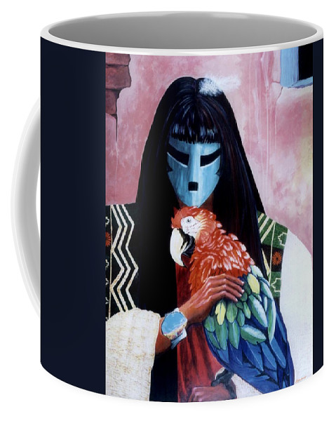 Parrot Coffee Mug featuring the painting Hopi Dances And The Red Macaw by Anastasia Savage Ealy