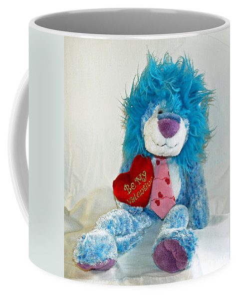Love; Hope; Hoping; Man; Male; Lion; Blue; Stuffed; Animal; Heart; Valentine; Hopeful; Lover; Suitor Coffee Mug featuring the photograph Hoping For Love by Allan Hughes