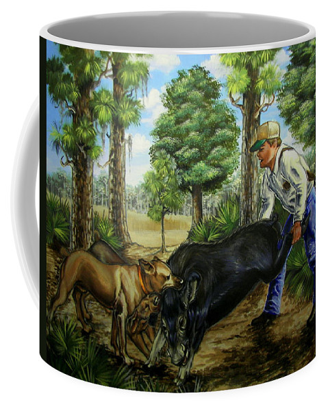 Hog Coffee Mug featuring the painting Horace's Hunt by Monica Turner