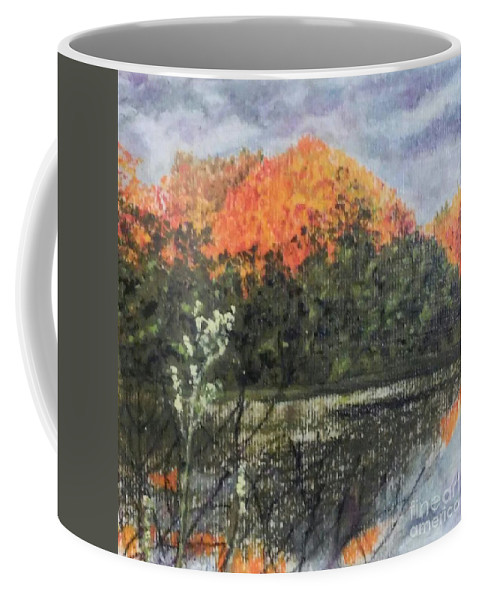 Autumn Coffee Mug featuring the drawing Horn Pond In Autumn by Iris M Gross