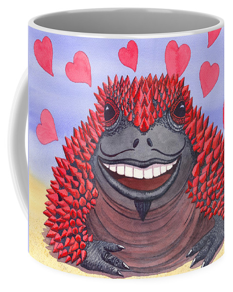 Toad Coffee Mug featuring the painting Horny Toad by Catherine G McElroy