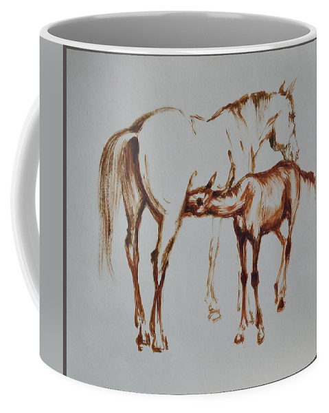 Foal Coffee Mug featuring the drawing Mare And Foal by Yuri Hope