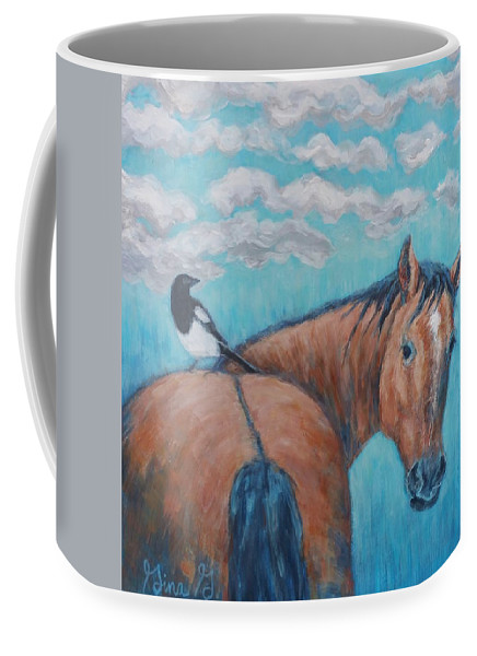Horse Painting Coffee Mug featuring the painting Horse And Magpie by Gina Grundemann