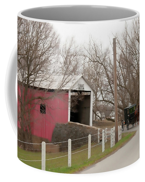 Bridge Coffee Mug featuring the photograph Horse Buggy And Covered Bridge by David Arment