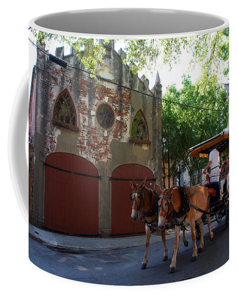 Photography Coffee Mug featuring the photograph Horse Carriage At Kings Street by Susanne Van Hulst