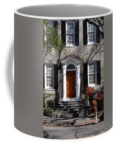 Photography Coffee Mug featuring the photograph Horse Carriage In Charleston by Susanne Van Hulst