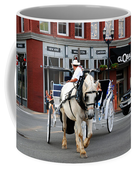 Nashville Coffee Mug featuring the photograph Horse Carriage In Nashville by Susanne Van Hulst