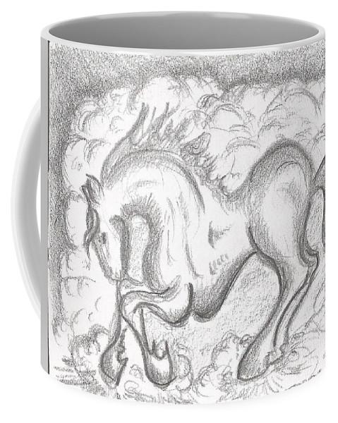 Horse Coffee Mug featuring the drawing Horse by Gabriel Coelho