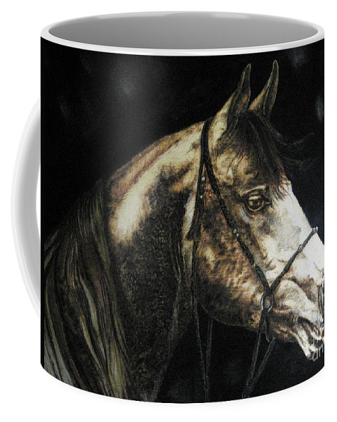 Horse Coffee Mug featuring the pyrography Horse by Ilaria Andreucci