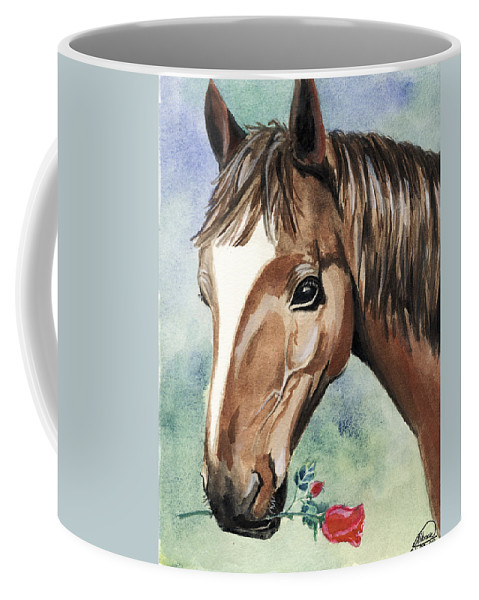 Horse Coffee Mug featuring the painting Horse In Love by Alban Dizdari
