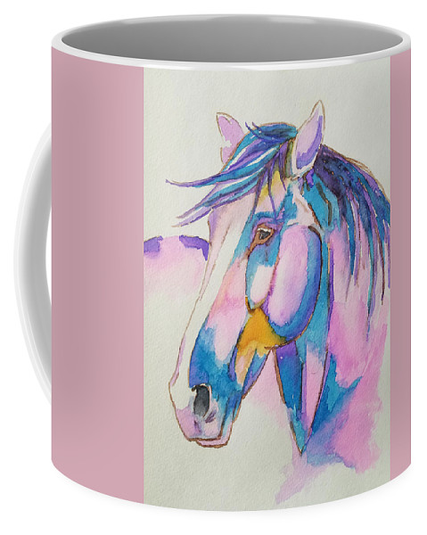 Horse Coffee Mug featuring the painting Horse In Pink by Johnny McNabb