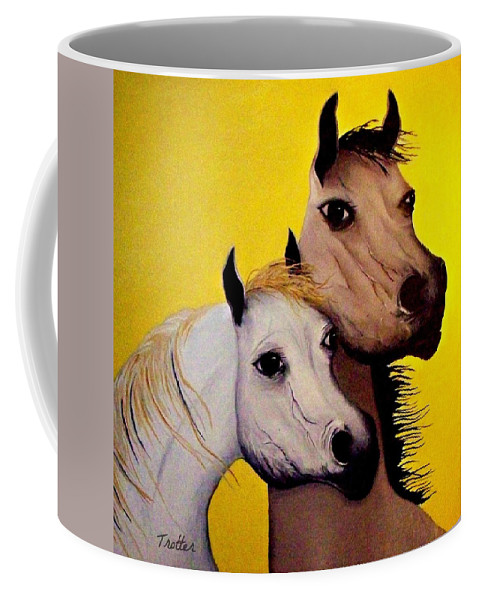 Coffee Mug featuring the painting Horse Lovers the Golden Age by Patrick Trotter