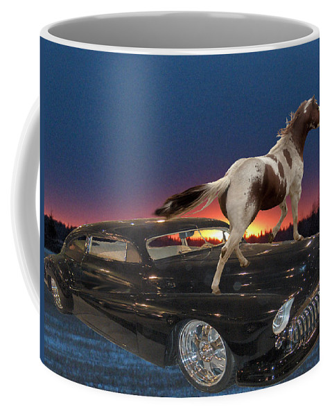 Classic Car Horse Sunset Trees Landscape Motor Chrome Sky Coffee Mug featuring the photograph Horse Power by Andrea Lawrence