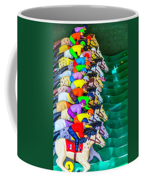 Carnival Horse Race Game Fair Coffee Mug featuring the photograph Horse Race Game by Garry Gay