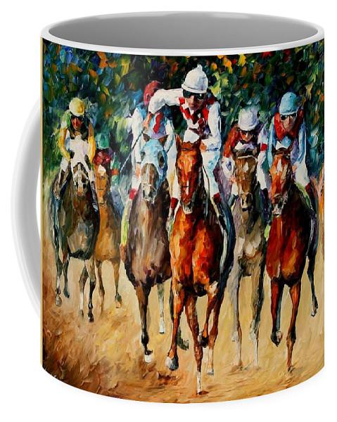 Afremov Coffee Mug featuring the painting Horse Race by Leonid Afremov