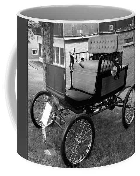 Cars Coffee Mug featuring the photograph Horseless Carriage-bw by Charles HALL