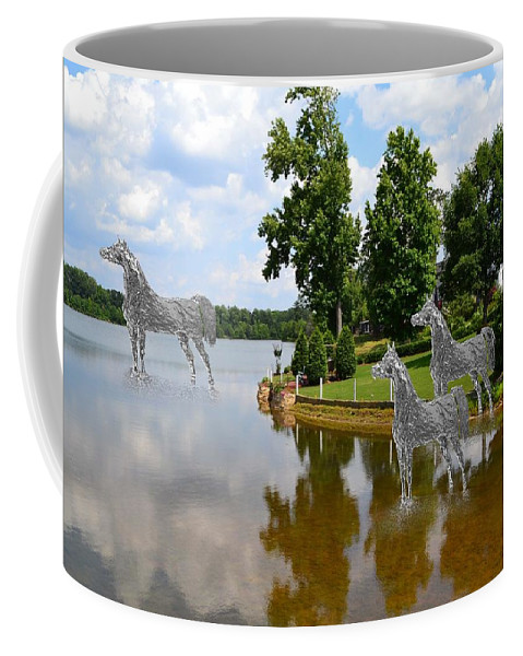 Horses Coffee Mug featuring the mixed media Horses 3 by Cleotha Williams