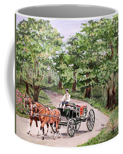 Old Virginia Coffee Mug featuring the painting Horses And Wagon by Olga Silverman
