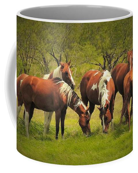 Horses Coffee Mug featuring the photograph Horses Grazing by Dennis Nelson