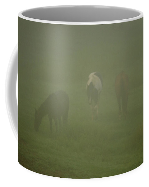 Cade Coffee Mug featuring the photograph Horses Grazing In The Mist by Steve Gadomski