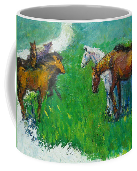 Horses Coffee Mug featuring the painting Horses by Guanyu Shi