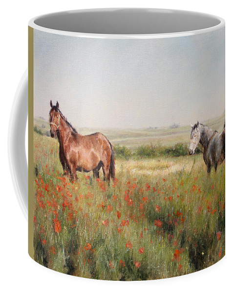 Poppy Coffee Mug featuring the painting Horses in a Poppy field by Darko Topalski