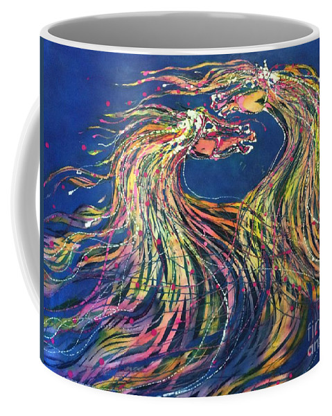 Horses Coffee Mug featuring the tapestry - textile Horses Meet In The Wind by Carol Law Conklin