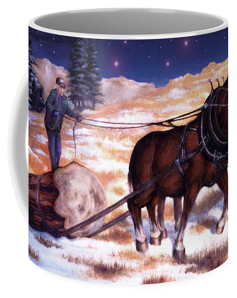 Horse Coffee Mug featuring the painting Horses Pulling Log by Curtiss Shaffer
