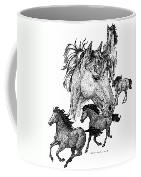 Horses Coffee Mug featuring the drawing Horses by Sherry Shipley