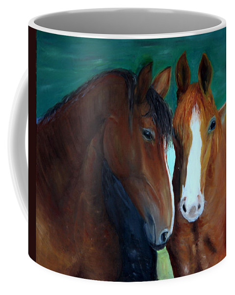 Horses Coffee Mug featuring the painting Horses by Taly Bar
