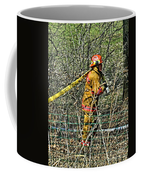 Firefighting Coffee Mug featuring the photograph Hose Advance by Tommy Anderson